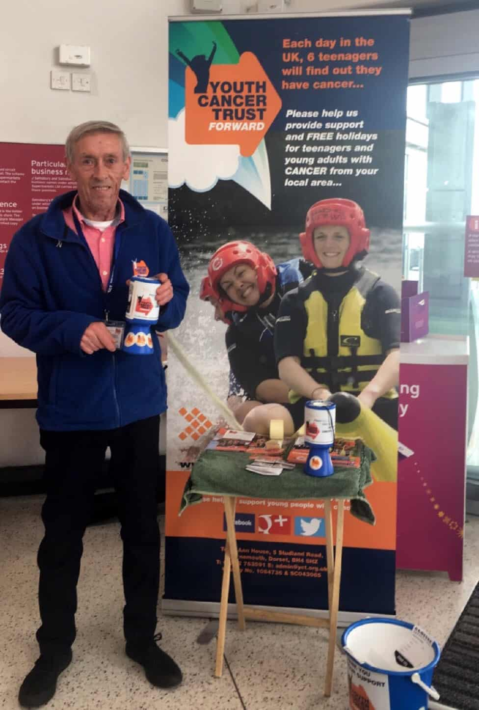 John Barclay collecting for Youth Cancer Trust