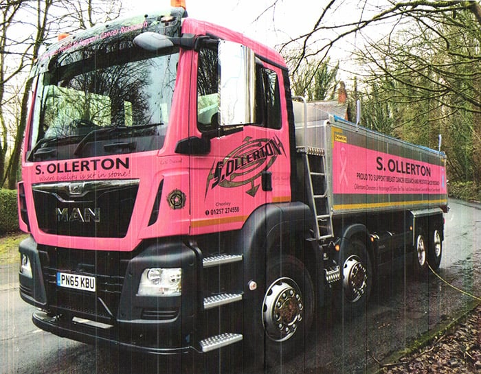 Sollertons pink truck raising funds for Youth Cancer Trust